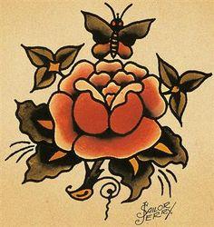 30 Trendy Ideas Tattoo Traditional Flash Old School Sailor Jerry Sailor Jerry Flash, Traditional Flash, Traditional Tattoo Flash, American Traditional, Flash Art, Rose Tattoos, New Tattoos, Tatoos, Floral Tattoos