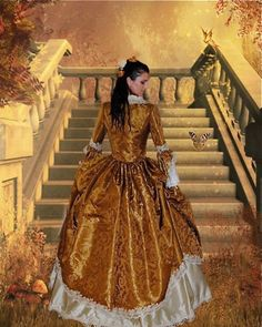 Silk and Brocade Rococo Marie Antoinette Gown - Custom