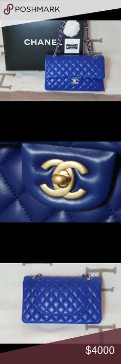 Chanel Royal Blue Lambskin Shoulder Bag Brand New 100% Authentic Chanel Royal Blue Lambskin Special Brush Gold Chain Medium Bag CHANEL Bags Shoulder Bags