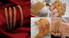 Latest Gold Bangle Designs Six & Eight Piece Bangle Sets | Light Weight ... Latest Gold Jewellery, Gold Jewelry, Gold Bangles Design, Bangle Set, Pairs, Indian, Bracelets, Fashion, Moda