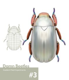 This Damn Beetle on Behance - Gradient Mesh experiments by Nathan Aucott Gradient Mesh, Beetle, Adobe Illustrator, Behance, Paintings, Illustrations, Graphic Design, Gallery, Drawings