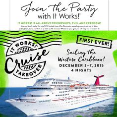 Who wants to go on an #allexpensespaid #ItWorkscruise? All you have to do is #jointheparty. #ItWorksSummerAdventure Ask me for details. I'm going and I'd love to take you with me!  919-593-4279