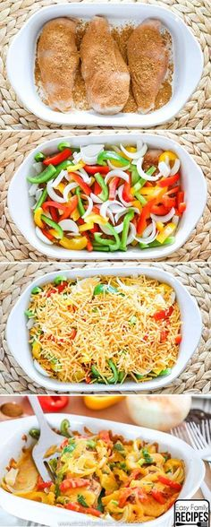 Chicken Fajita Bake- So easy and delicious! dinner chicken Easy Baked Chicken Fajitas- Healthy and Delicious- Easy Family Recipes Baked Chicken Fajitas, Easy Baked Chicken, Chicken Fajita Casserole, Easy Chicken Fajita Recipe, Chicken Bake Recipes, Mexican Chicken Bake, Healthy Chicken Dinner, 30 Min Chicken Meals, German Recipes