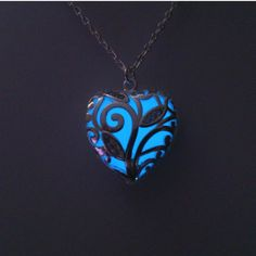 Blue Glow in the Dark Heart Pendant Glowing by BespokeInnaDesign