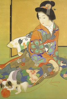 Japanese painting, Beauty playing with her cat, by Kiyokata Kaburagi Japanese Artwork, Japanese Painting, Japanese Prints, Japanese Woodcut, Anime Child, Art Japonais, Korean Art, Japan Art, Japanese Culture