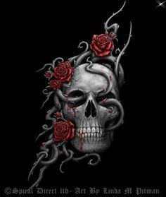 💀Rose Vines Running Through A 💀 Skull. Skull Rose Tattoos, Body Art Tattoos, New Tattoos, Clover Tattoos, Hand Tattoos, The Crow, Badass Skulls, Totenkopf Tattoos, Skull Pictures