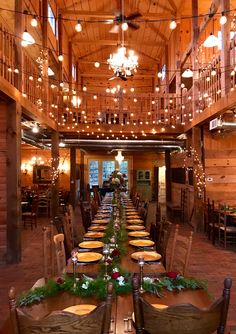 Dining arrangement in barn at Sanctuary Estate