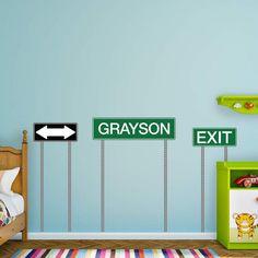 Fathead Transportation Theme Nursery Personalized Name Wall Decal - 69-02034