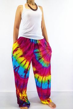 PTT1-7 Women Yoga Pants Maxi Pants Gypsy Pants Rayon Pants Tie Dye Pants Long…