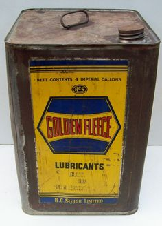 A nice old Golden Fleece service station 4 gallon Lubricant can