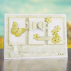 Yellow infused card with #butterfly embellishments from #CraftworkCards. Available to buy at Create and #Craft - http://www.createandcraft.tv/papercraft/brand--craftwork+cards.aspx?icn=Craftwork_Cards&ici=Craftwork_Cards_Papercraft_Brands #papercraft #cardmaking