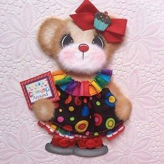 ELITE4U-Laura-CLOWN-BOUTIQUE-GIRL-Tear-BEAR-Premade-Scrapbook-3paperwishes