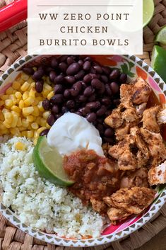 My Favorite WW recipes Zero Point Chicken Burrito Bowls - Pound Dropper Landscape Photography: Tips Poulet Weight Watchers, Plats Weight Watchers, Weight Watchers Meal Plans, Weight Watchers Diet, Weight Watcher Dinners, Weight Watchers Chicken, Weight Watchers Frozen Meals, Weight Watchers Shakes, Weight Watcher Breakfast