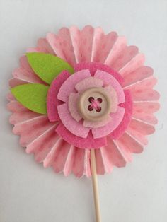 Pink Felt Flowers Cupcake Toppers by InkCouture on Etsy, $8.00