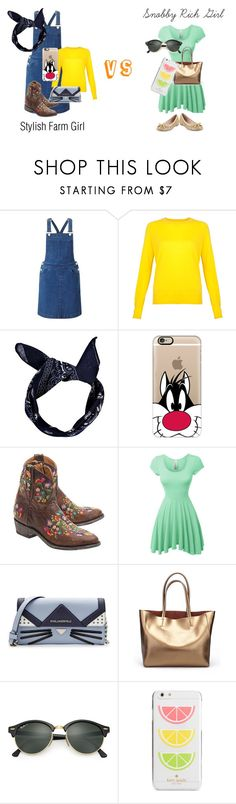 """""""Pick an outfit that you like the best and vote for it. To vote comment FARM for the Farm Girl and MANSION for the Rich Girl"""" by cgintz ❤ liked on Polyvore featuring Miss Selfridge, Boohoo, Casetify, Mexicana, LE3NO, Karl Lagerfeld, Ray-Ban and Kate Spade"""