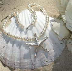 Pearl Necklace Starfish Bridal Jewelry