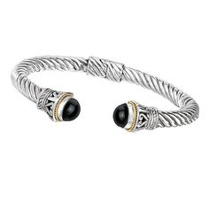 NEW 18k GOLD & STERLING SILVER .925 ROPE SWILR BLACK ONYX CUFF BANGLE BRACELET #Cuff