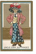 1909 Uncle Sam Suffragee Embossed Woman Vote Unused SUFFRAGETTE SERIES #6