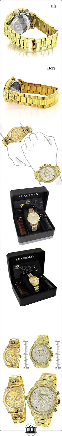 His and Hers Watches: LUXURMAN Diamond Watch Set Yellow Gold Plated 4.25ct  ✿ Relojes para mujer - (Lujo) ✿