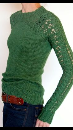 Stitch Fix Fall Fashion - Green sweater, brown belt and jeans. Cute and casual. This post contains affiliate links through which I may be compensated