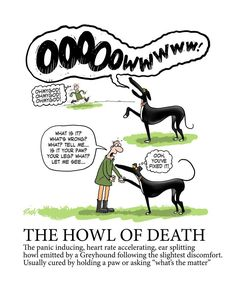 "Also known as ""GSOD"" Greyhound Scream of Death!"