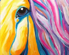 """Abstract colorful rodeo art """"Soulful Eye"""" acrylic painting of horse on 8x11 inch canvas"""