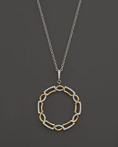 Diamond Circle Pendant Necklace in 14K White & Yellow Gold, .25 ct. t.w. | Bloomingdale's