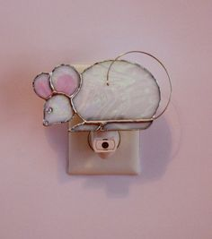 Stained Glass White Christmas Mouse Light by stainedglassturtle