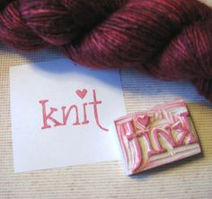 Knit heart with yarn