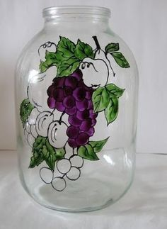 6 Ideas para decorar frascos de vidrio y hacer lindas manualidades ~ Haz Manualidades Crafts With Glass Jars, Wine Bottle Crafts, Jar Crafts, Painted Glass Vases, Painted Mason Jars, Bottle Painting, Bottle Art, Stained Glass Paint, Spoon Art