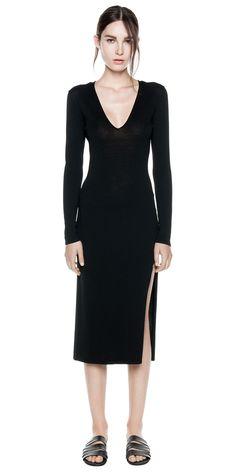 BASIC KNIT LS DRESS (black) - by Dion Lee. #knitwear #Formfitting #lowcut #black