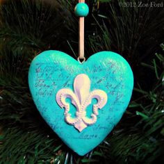 Fleur De Lys Turquoise Christmas Heart Ornament Tree Decoration by TopFloorTreasures, $10.00