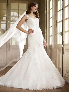Trumpet/Mermaid Spaghetti Straps Tulle Satin Sweep Train White Appliques Wedding Dresses