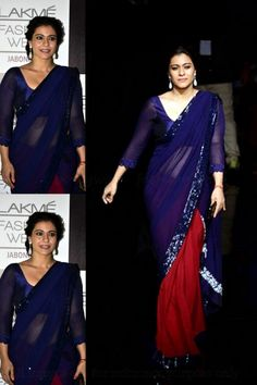 USD 36.32 Kajol Blue and Red Lace Work Half N Half Party Saree