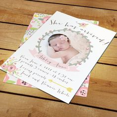 Ashley Sweet Whimsical Vintage Floral Baby Birth Announcement for Boy or Girl - Customizable Colors DIY printable or printed available on Etsy, $25.00