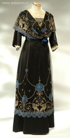 Griffin Embroidered Dress, ca. 1910s black beaded design blue gold silk downton abbey edwardian museum