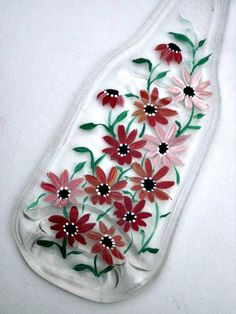 Spoon Rest Melted Clear Beer Bottle Hand Painted by GlassGaloreGal, $10.00