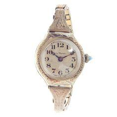 La Marne Ladies Art Deco 14k White Gold Bracelet Watch  #antique