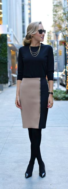Nappalra, work outfit, szoknya, The Classy Cubicle: Split, skirt by Ann Taylor Office Fashion, Business Fashion, Work Fashion, Business Attire, Business Women, Fashion Fashion, Business Style, Fashion Outfits, Business Outfits