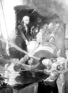 Jack Cornwall firing the gun on the deck of HMS Chester. Newspapers and magazines immediately took possession of the boy hero. One of the magazines carried this drawing.