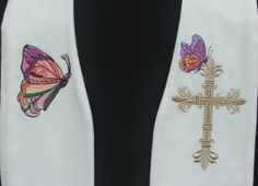 Clergy Stole Vestment White Easter Butterfly Lily by FaithThreads, $250.00