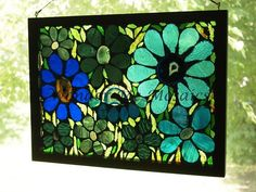Stained Glass Mosaic on Glass - Garden of Blue Flowers on Etsy, $249.95