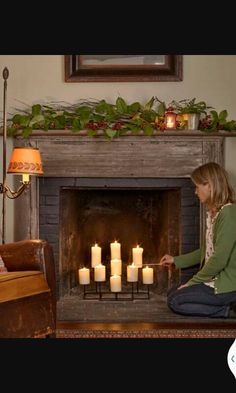 Add A Low Maintenance Glow To Your Fireplace With Large Scale Candelabra Nine Candle