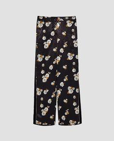 NWT ZARA Black Ecru Flowing Floral Trousers Side Stripe Pants Size M - 7851/110 #ZARA #WideLeg