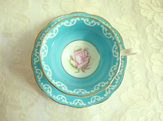 Vintage Royal Albert Blue Teacup Pink Rose Wide Mouth Avon Shape 1940s