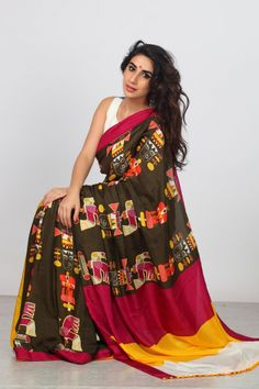 Generous Bollywood Saree Clothes, Shoes & Accessories Women's Clothing Spectacular Design Fully Embellished With Copper Silk Rrp £225