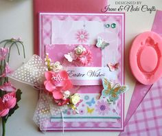 Pretty in Pink Easter Card by Irene and Nicki Crafts Easter Wishes, Easter Card, Easter Crafts, Irene, Handmade Cards, Pretty In Pink, How To Make, Design, Decor
