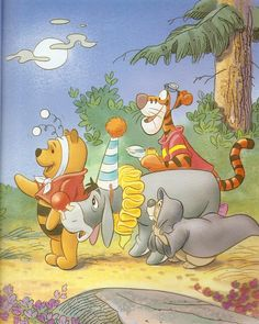 Halloween with Pooh and friends. Winnie The Pooh Halloween, Winne The Pooh, Winnie The Pooh Quotes, Winnie The Pooh Friends, Disney Winnie The Pooh, Baby Disney Characters, Cartoon Characters, Eeyore, Cute Disney