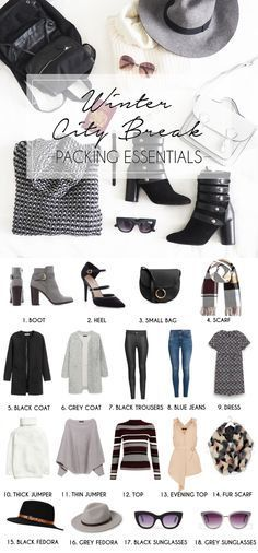 Winter City Break Packing Essentials. Fashion blogger post on how to pack for a winter getaway with just hand luggage carry on baggage. Fashion blogger essentials winter wardrobe necessities for dressing styling in Milan Italy or any city break. Capsule interchangeable wardrobe. Full Post on http://ClothesandStuff.co.uk