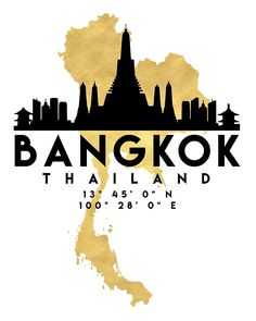 BANGKOK THAILAND SILHOUETTE SKYLINE MAP ART -  The beautiful silhouette skyline of Bangkok and the great map of Thailand in gold, with the exact coordinates of Bangkok make up this amazing art piece. A great gift for anybody that has love for this city.  bangkok thailand downtown silhouette skyline map coordinates souvenir gold deificus art